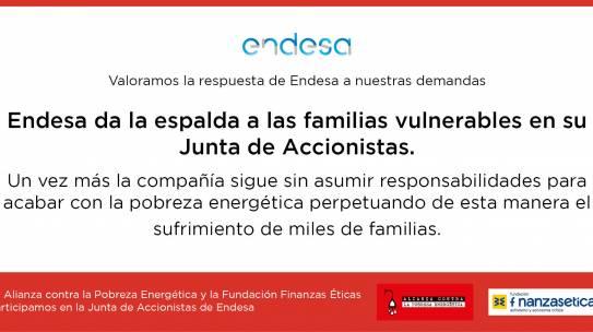 Endesa da la espalda a las familias vulnerables en su Junta de Accionistas