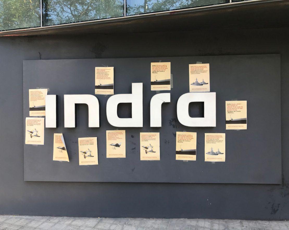 sede de Indra en Barcelona después de la acción #DesarmandoIndra